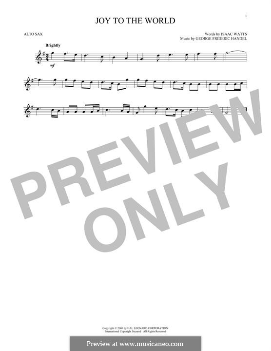 Joy to the World (Printable Scores): para Saxofone Alto by Georg Friedrich Händel