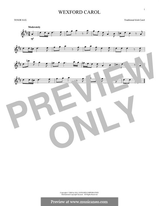 Wexford Carol: para saxofone tenor by folklore
