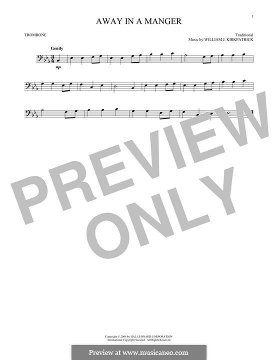 Away in a Manger: para trombone by William (James) Kirkpatrick