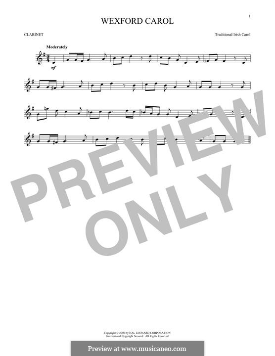 Wexford Carol: para clarinete by folklore