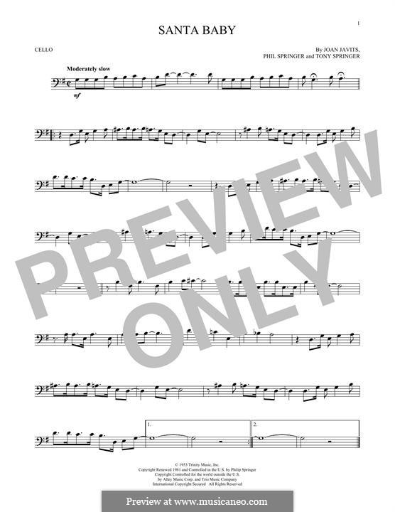 Santa Baby (Eartha Kitt): para violoncelo by Joan Javits, Philip Springer, Tony Springer