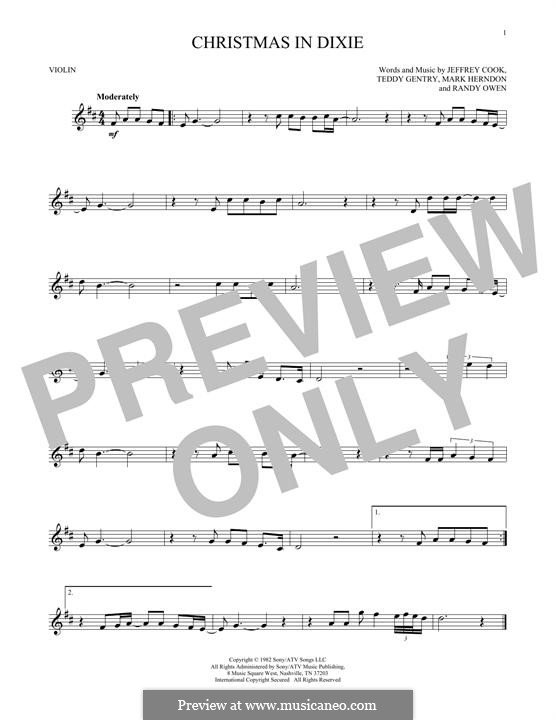 Christmas in Dixie (Alabama): para violino by Jeffrey Cook, Mark Herndon, Randy Owen, Teddy Gentry