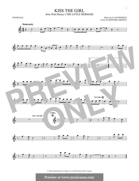 Kiss the Girl (from The Little Mermaid): para saxofone tenor by Alan Menken