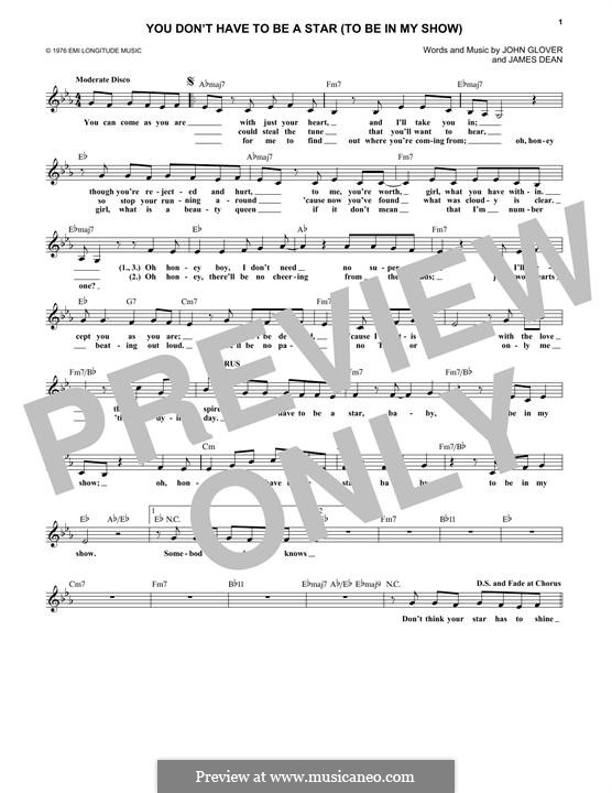 You Don't Have To Be a Star (To Be in My Show): melodia by James A. Dean, John Glover