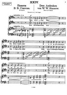 Vierundzwanzig Gedichte, Op.86: Nr.24 Dem Andenken von W. Stassow by César Cui