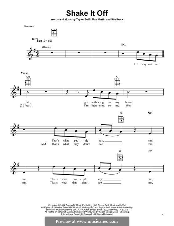 Shake it Off: para ukulele by Shellback, Max Martin, Taylor Swift