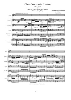 Concerto for Oboe (or Flute), Strings and Continuo in E Minor, TWV 51-E1: Concerto for Oboe (or Flute), Strings and Continuo in E Minor by Georg Philipp Telemann