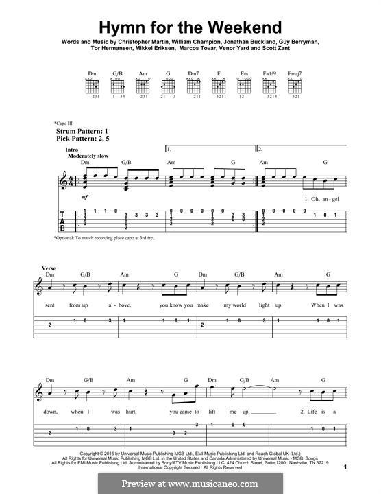 Hymn for the Weekend (Coldplay): Para Guitarra by Chris Martin, Guy Berryman, Jonny Buckland, Mikkel Storleer Eriksen, Will Champion, Marcos Jesus Tovar, Scott Alan Zant, Venor Timothy Yard
