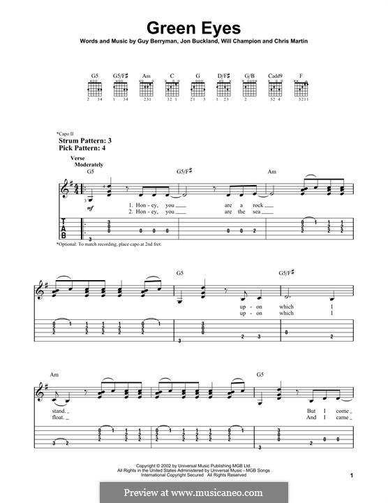 Green Eyes (Coldplay): Para Guitarra by Chris Martin, Guy Berryman, Jonny Buckland, Will Champion