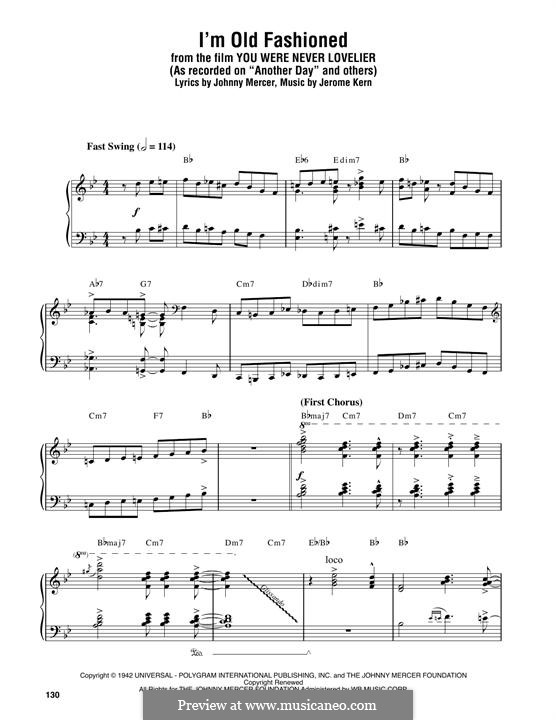 I'm Old Fashioned: Para Piano by Jerome Kern