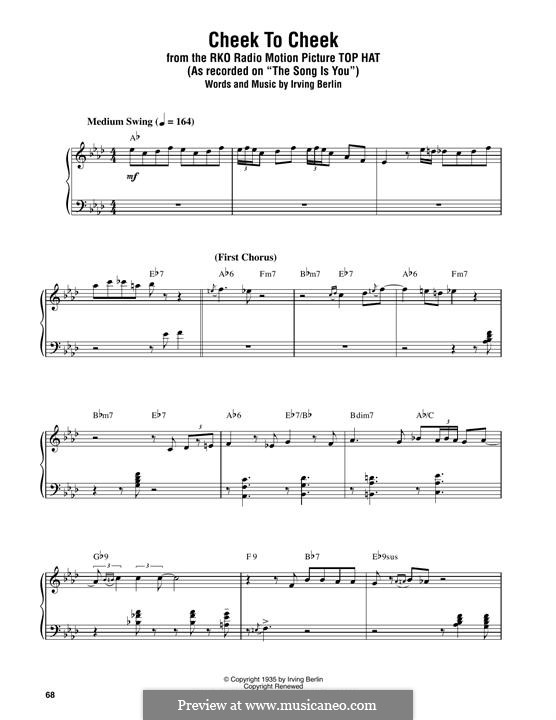 Cheek to Cheek: Para Piano by Irving Berlin