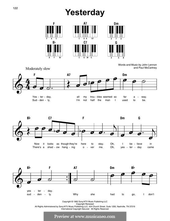 Yesterday (The Beatles): melodia by John Lennon, Paul McCartney