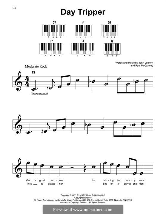 Day Tripper (The Beatles): For any instrument by John Lennon, Paul McCartney