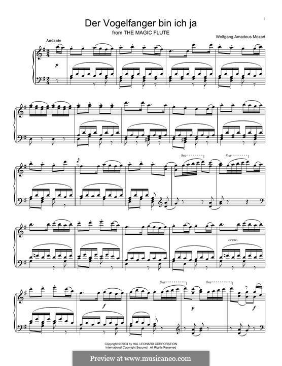 Papageno's Aria: Para vocais e piano by Wolfgang Amadeus Mozart