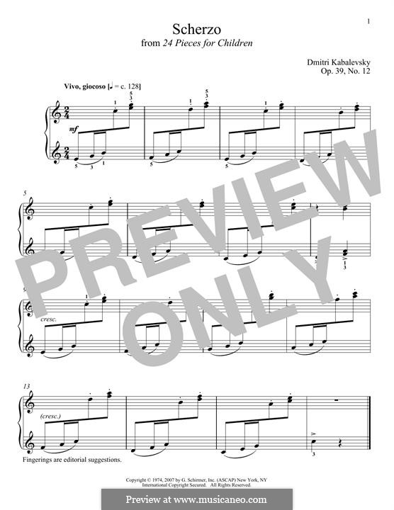 Twenty-Four Easy Pieces, Op.39: No.12 Scherzo by Dmitri Kabalevsky