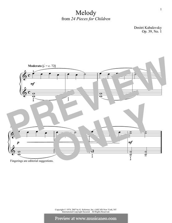 Twenty-Four Easy Pieces, Op.39: No.1 Melody by Dmitri Kabalevsky