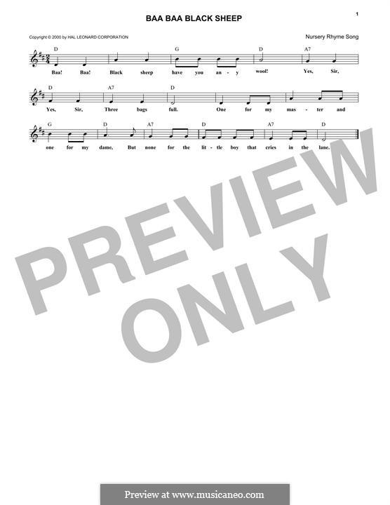 Baa Baa Black Sheep: melodia by folklore