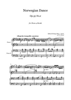 Four Norwegian Dances, Op.35: Dance No.2, for piano four hands by Edvard Grieg