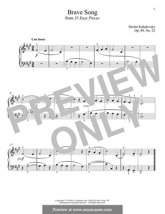 Brave Song: Para Piano by Dmitri Kabalevsky