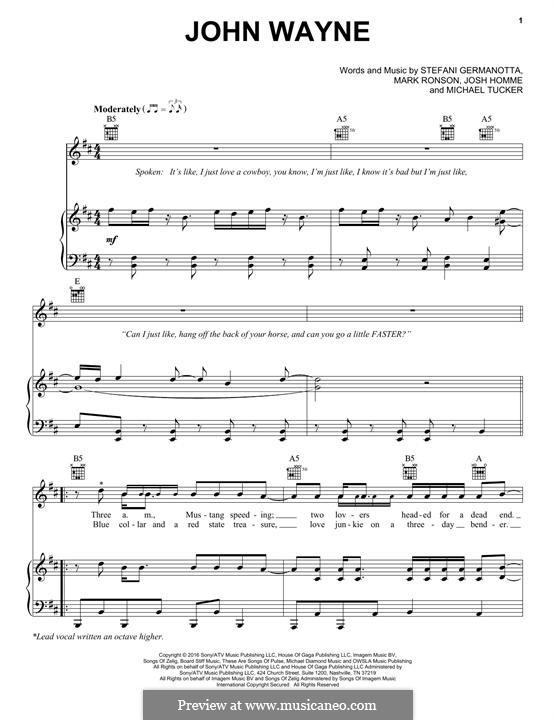 John Wayne (Lady Gaga): Para vocais e piano (ou Guitarra) by Joshua Homme, Mark Ronson, Stefani Germanotta, Michael Tucker