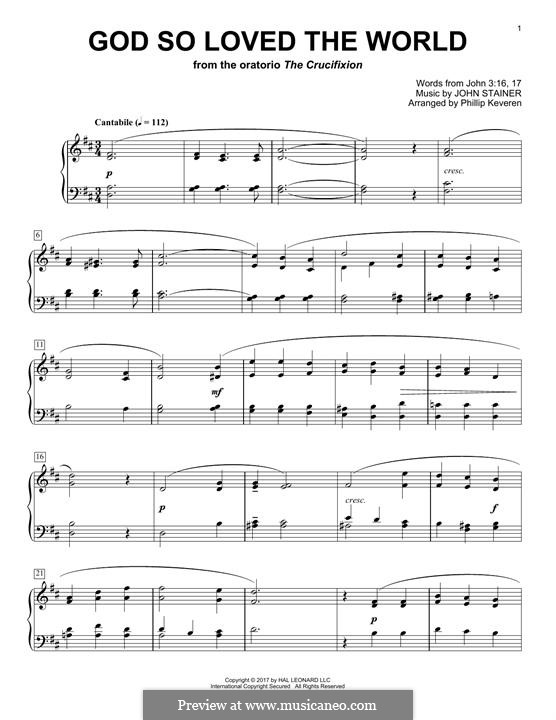 God so loved the world: Para Piano by John Stainer
