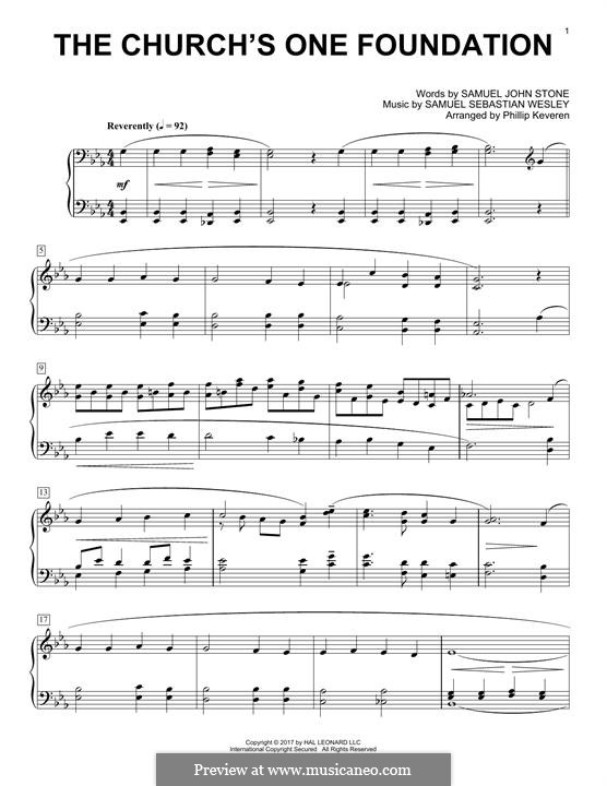The Church's One Foundation: Para Piano by Samuel Sebastian Wesley