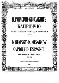 Capriccio Espagnol, Op.34: para piano de quadro mãos by Nikolai Rimsky-Korsakov