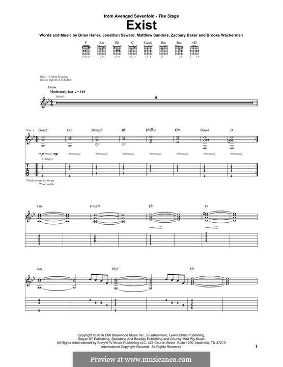 Exist (Avenged Sevenfold): Para guitarra com guia by Brian Haner Jr., Jonathan Seward, Matthew Sanders, Zachary Baker, Brooks Wackerman