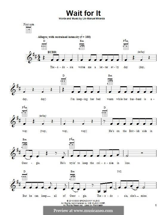Wait for It (from 'Hamilton'): para ukulele by Lin-Manuel Miranda
