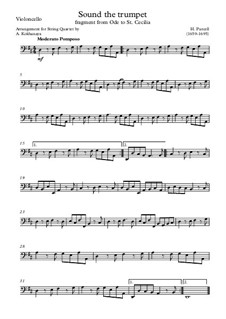 Ode to St. Cecilia, Z.328: Sound the trumpet – cello part by Henry Purcell