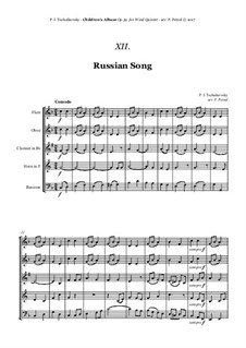 No.11 Russian Song: For woodwind quintet by Pyotr Tchaikovsky