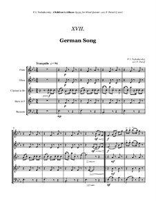 No.17 German Song: For woodwind quintet by Pyotr Tchaikovsky