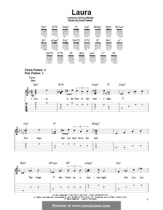 Laura (Frank Sinatra): Para guitarra com guia by David Raksin