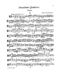 String Quintet No.2 in C Major, Op.16: viola parte I by Sergei Taneyev