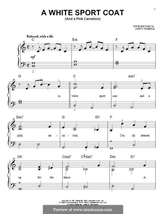 A White Sport Coat (And a Pink Carnation): Para Piano by Marty Robbins
