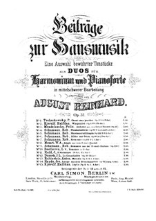 Souvenir de Hapsal, TH 125 Op.2: No.3 Song without Words, for harmonium and piano by Pyotr Tchaikovsky