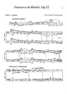 Francesca da Rimini, TH 46 Op.32: parte violoncelos e contrabaixos by Pyotr Tchaikovsky