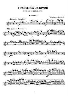 Francesca da Rimini, TH 46 Op.32: violinos parte I by Pyotr Tchaikovsky