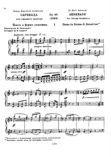 Serenade for String Orchestra, TH 48 Op.48: Movement I (Pezzo in forma di sonatina), for piano by Pyotr Tchaikovsky