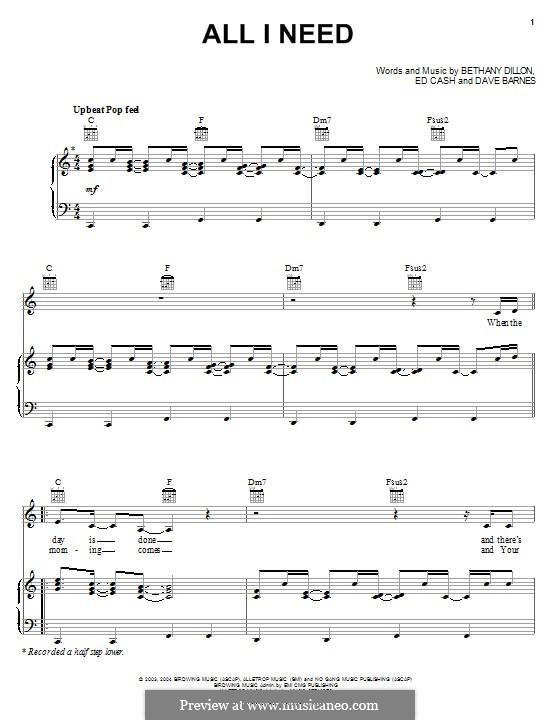 All I Need: Para vocais e piano (ou Guitarra) by Ed Cash, Dave Barnes, Bethany Dillon