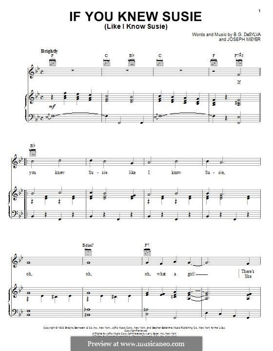 If You Knew Susie (Like I Know Susie): Para vocais e piano (ou Guitarra) by Buddy Gard DeSylva, Joseph Meyer
