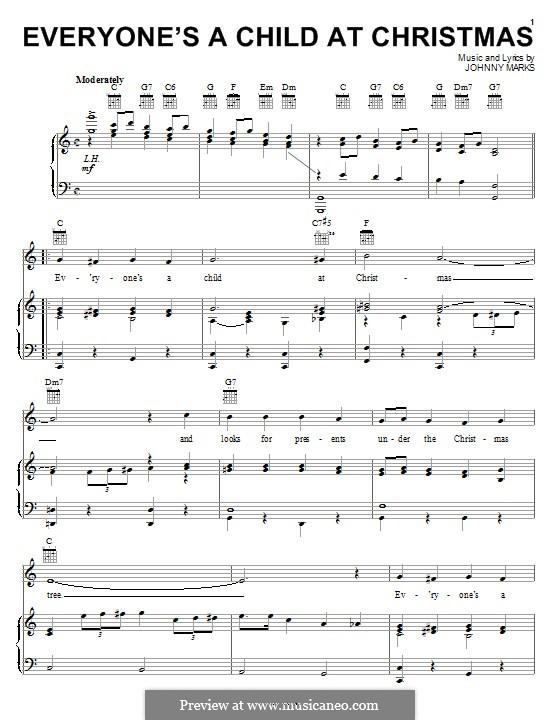 Everyone's a Child at Christmas: Para vocais e piano (ou Guitarra) by Johnny Marks