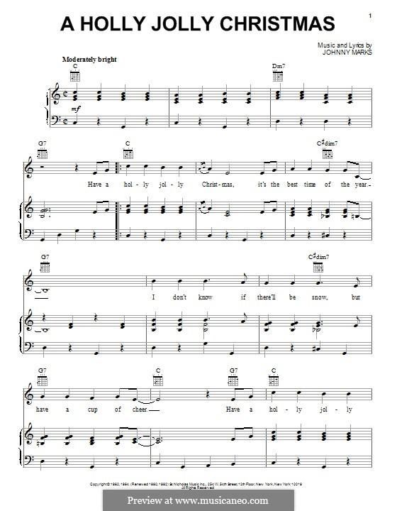 A Holly Jolly Christmas: Para vocais e piano (ou Guitarra) by Johnny Marks