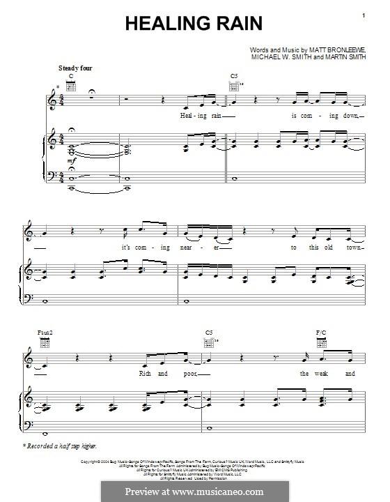 Healing Rain: Para vocais e piano (ou Guitarra) by Matt Bronleewe, Michael W. Smith, Martin Smith