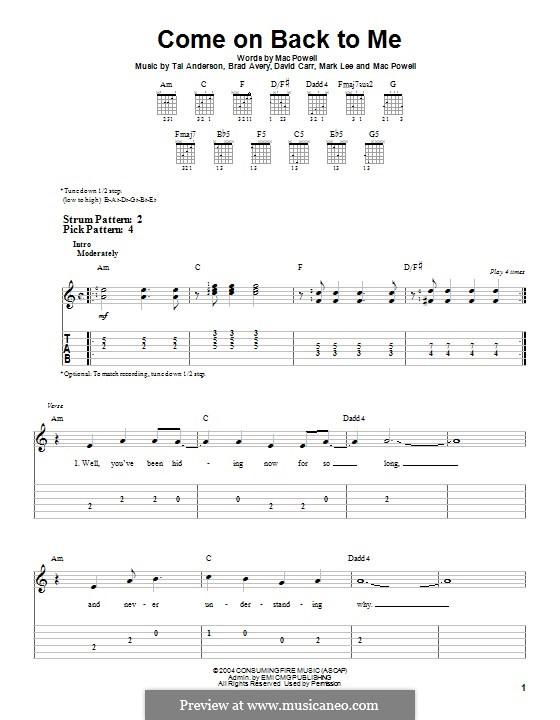 Come on Back To Me (Third Day): Para guitarra com guia by Brad Avery, Tai Anderson, David Carr, Mac Powell, Mark Lee
