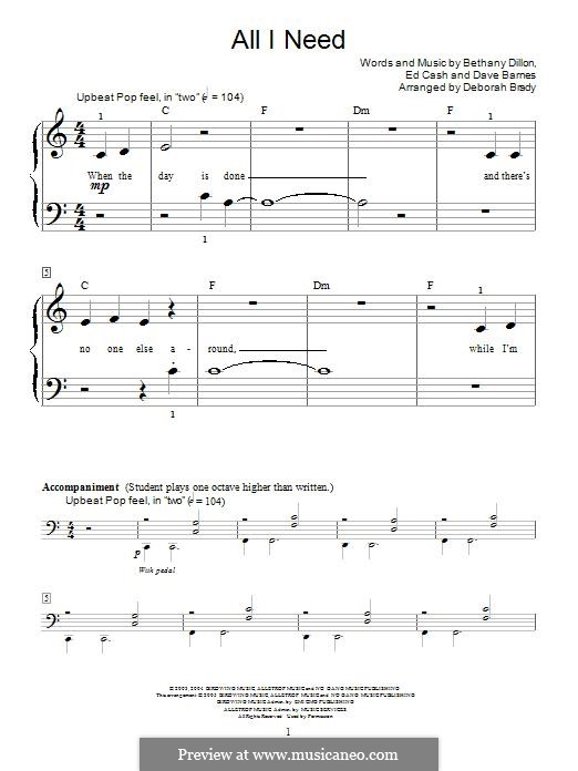 All I Need: Para Piano by Ed Cash, Dave Barnes, Bethany Dillon