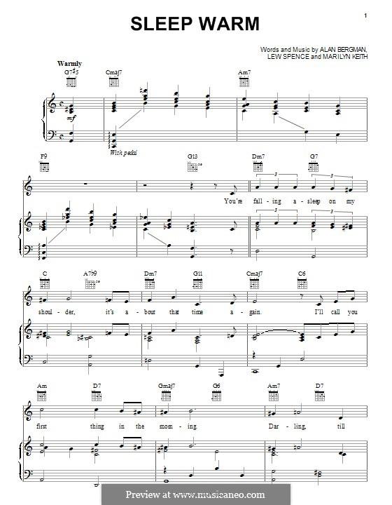Sleep Warm: Para vocais e piano (ou Guitarra) by Alan Bergman, Lew Spence, Marilyn Keith
