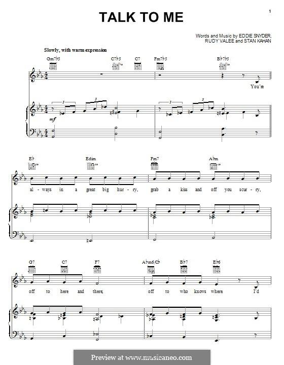 Talk To Me: Para vocais e piano (ou Guitarra) by Eddie Snyder, Rudy Valee, Stan Kahan