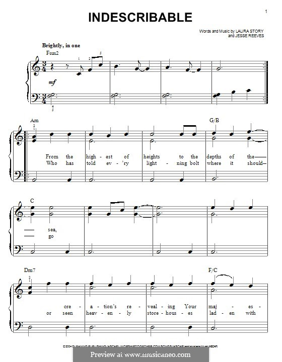 Indescribable (Avalon): Para Piano by Jesse Reeves, Laura Story