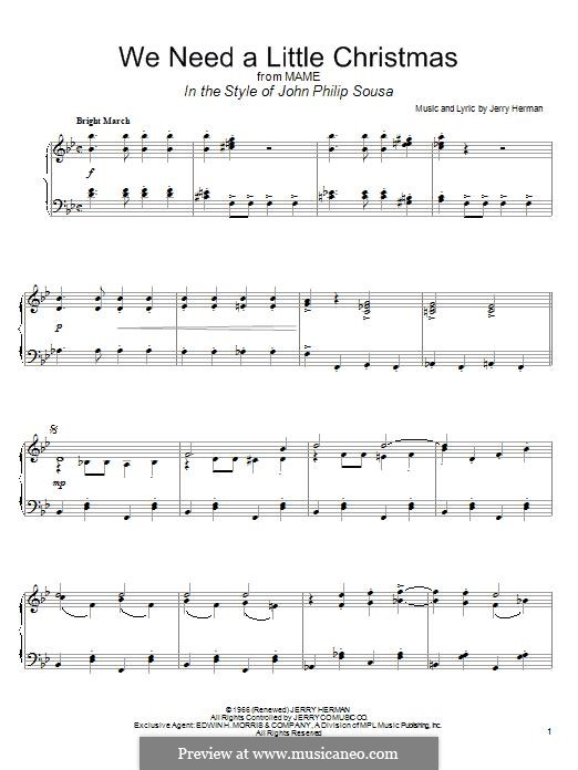 We Need a Little Christmas: Para Piano by Jerry Herman